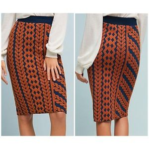 Maeve Geometric Knit Pull On Pencil Skirt